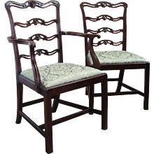 Set of Six George III Style Mahogany Ladder Back Dining Chairs, in the Chippendale manner