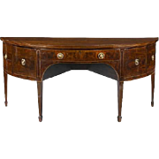 George III Period Mahogany and Strung Demilune Sideboard