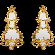 A Pair of George II Giltwood Girandoles