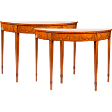 A Pair of George III Period Satinwood and Marquetry Pier Tables