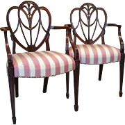 A Pair of George III Period 'Feather and Drapery' Armchairs