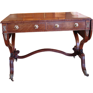 A Regency Period Mahogany and Rosewood Banded Sofa Table