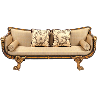 Regency Period Painted, Gilt and Simulated Rosewood Settee