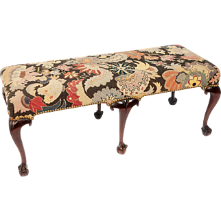 George II style mahogany and needlework bench