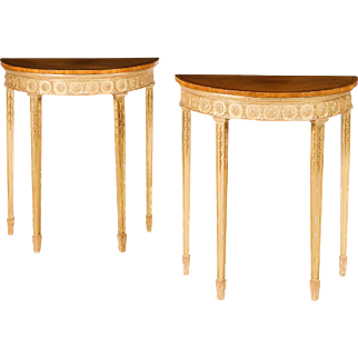 George III period giltwood and mahogany pier tables