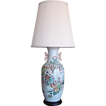 Pair of Chinese Enameled Porcelain Baluster Vases Mounted as Table Lamps