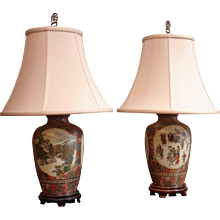 Two Japanese Kyoto Satsuma Ware Vases Mounted as Table Lamps