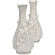 A Pair of Chinese Dehua Blanc-de-chine Hexagonal Bottle Vases