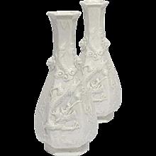 A Pair of Chinese Dehua Blanc-de-chine Hexagonal Bottle Vases