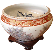 Late Meiji Period Large Porcelain Fish Bowl
