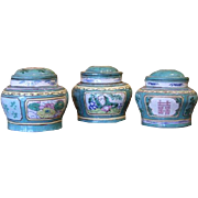 Three Chinese Lead Pigment Glazed Stoneware Herb Jars