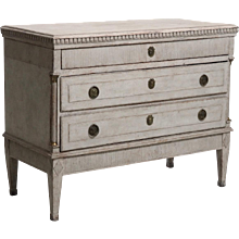 Gustavian chest, richly carved with original locks and bronzes, circa 1780.