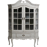 Scandinavian Rococo style two-part vitrine cabinet with old glass, circa 1830.