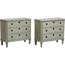 Pair of Gustavian chests, with faux painted marble top with original lock, 19th C.