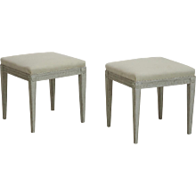 Pair of Gustavian Style Stools, 19th C.