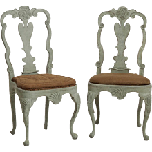 Scandinavian Rococo chairs, circa 1750-60. Probaly from Norway.