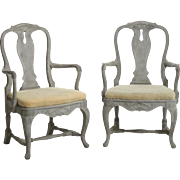 Pair of Swedish Rococo style armchairs, 19th C.