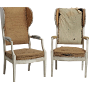 Pair of Swedish wing-back armchairs, 19th C.