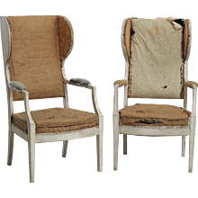 Pair of rare Swedish wing-back armchairs, 19th C.