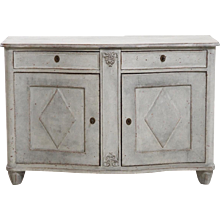 Gustavian style sepentine front with fine carvings and original lock and key, mid 19th C.