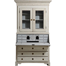 Gustavian three-part bureau, richly carved, with original locks, hardware, key and beveled glass, circa 1780.