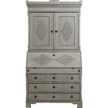 Two-part Gustavian bureau, with old locks and key, 18th C.