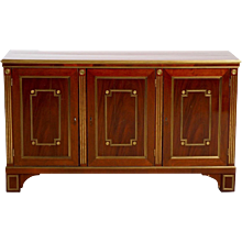 A Russian sideboard in mahogany with brass inlaid and original locks, 19th C. Some wear.