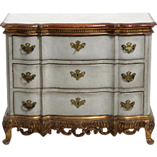 Rococo style chest with gilt carvings and faux painted marble top, 19th C.