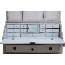 Gustavian two-part bureau with original locks, hardware and keys, circa 1790.