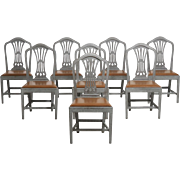 Set of eight Gustavian style chairs with leather seats, 19th C.