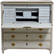 A Secretary properly from a Stockholm master with original Gotland marble, hardware and locks, circa 1790.
