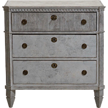 Gustavian style chest, richly carved, old lock and key, 19th C.