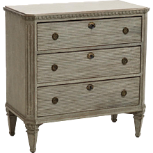 Gustavian style chest, richly carved, 19th C.