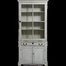 Fine European two-part vitrine cabinet, beg 19th C.