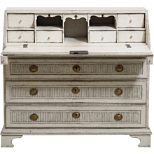 Gustavian bureau, richly carved, with serveral drawers, circa 1790.
