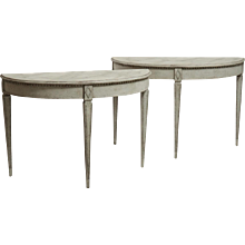 Pair of Gustavian demi-lune tables with faux painted marble top, 19th C.