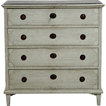 Fine Gustavian style chest, richly carved, with faux painted gotland marble top, 19th C.