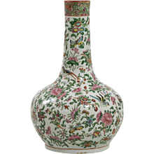 Very fine family rose chinese porcelain vase, 19th C.