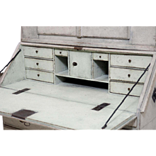 Fine Scandinavian two-part bureau, with original cast iron handles, circa 1780.