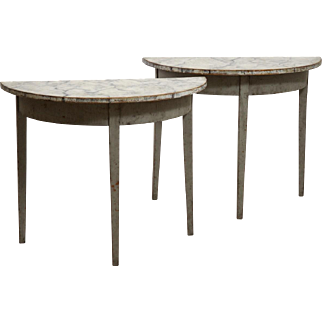 Pair of fine Gustavian demi-lune tables, with fuax painted marble top, circa 1820.