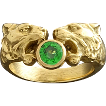 French Art Nouveau Lion Heads Green Garnet Gold Ring