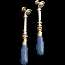 Janine Renard attr.  A Pair of Convertible Post-Modern Lapis Lazuli Citrine Diamond Gold Earrings