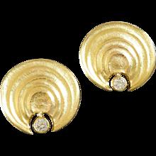 Atelier Zobel Post-Modernist Diamond Gold Clip Post Earrings