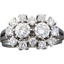 Classical 1950s Two-Stone 1.14 Carat Brilliant Cut Diamond White Gold Ring