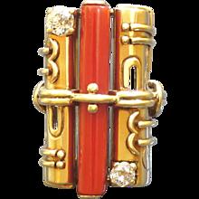 Otto Klein 1920s Art Deco Diamond Coral Gold Ring