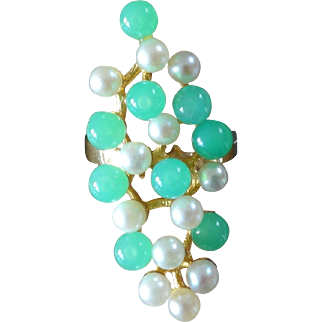 1970s Modernist Chrysoprase Pearl Gold Ring
