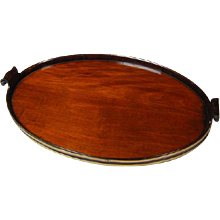 George III Brass Bound Oval Mahogany Tray of Large Size (c. 1780 England)