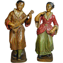 Pair of Chinoiserie Terracotta Figures (c. 1880 France)