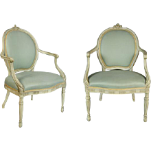 George III Decorated Armchair with a Later Copy after the Design by Ince and Mayhew (c. 1780 England)