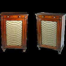 Pair of George III Mahogany Single Door Cabinets (c. 1810 England)